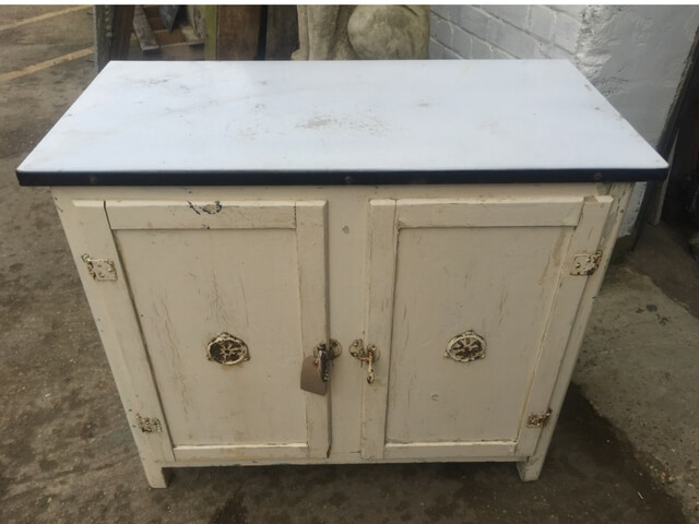 Enamelled topped metal meat safe
